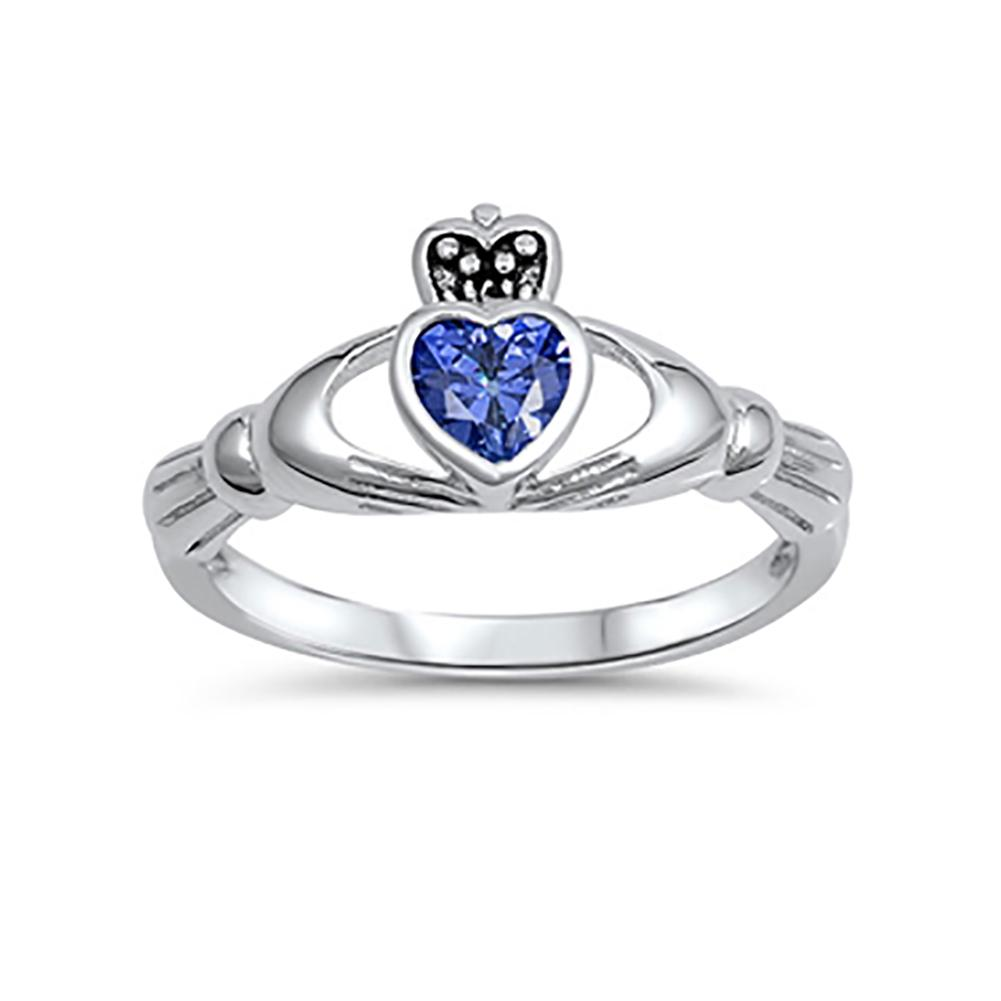 Irish Claddagh Heart Promise Ring Simulated Blue Sapphire CZ 925 Sterling Silver