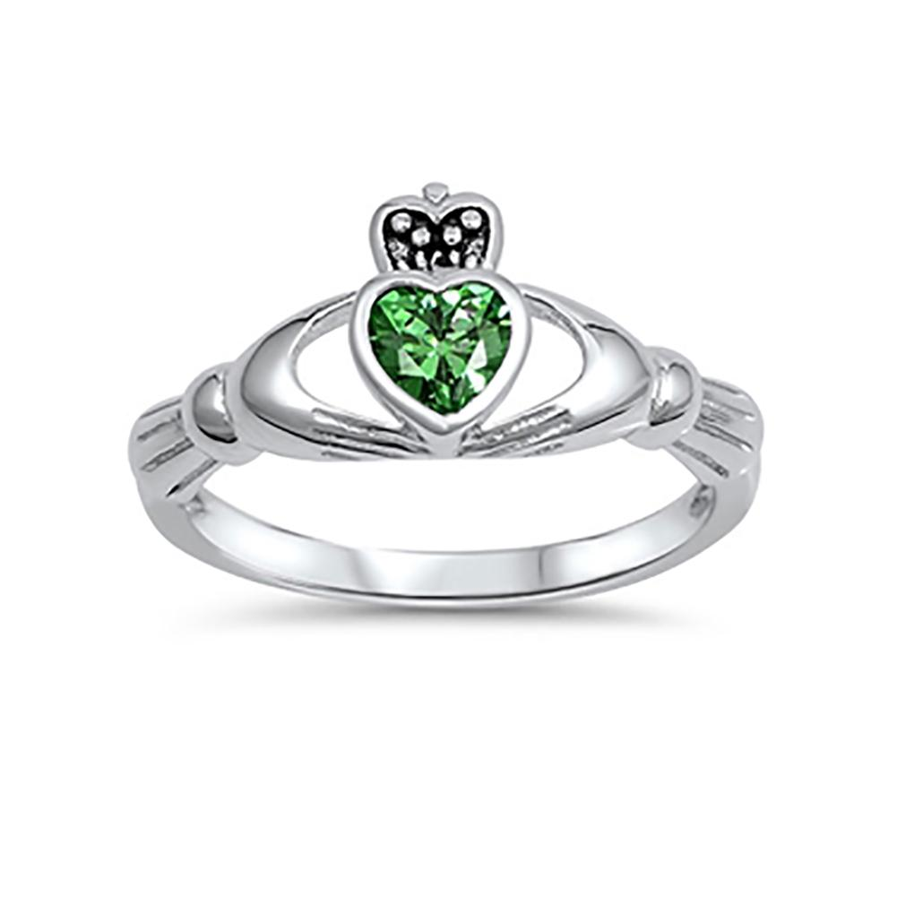 Irish Claddagh Heart Promise Ring Simulated Green Emerald 925 Sterling Silver