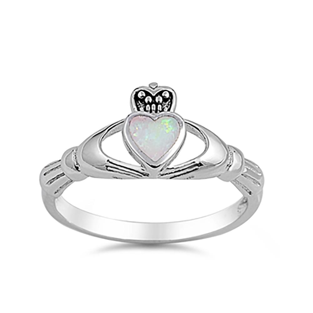 Irish Claddagh Heart Promise Ring Lab Created White Opal 925 Sterling Silver