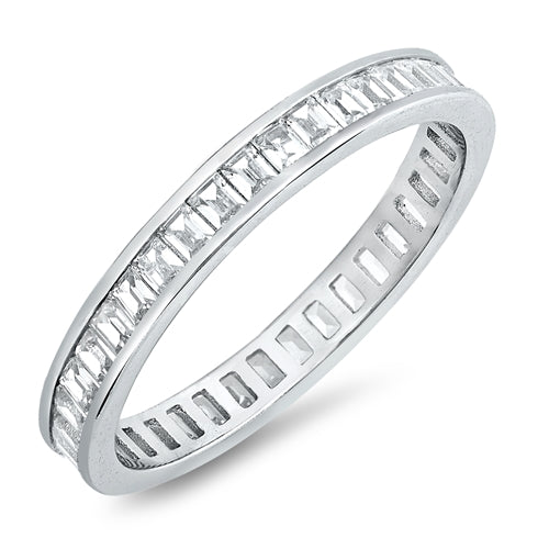 Eternity Rings Baguette Band Ring Simulated CZ 925 Sterling Silver