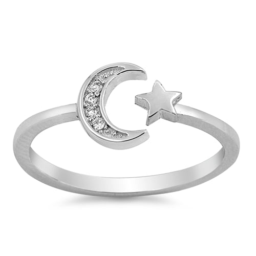 Moon Star Round Simulated Cubic Zirconia Wedding Ring 925 Sterling Silver