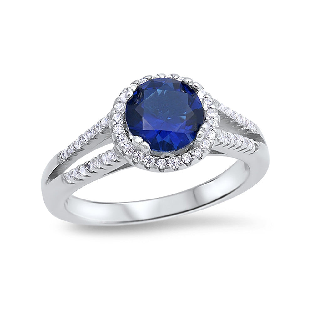 Round Simulated Blue Sapphire CZ Accent 925 Sterling Silver Wedding Ring