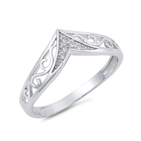 Filigree Swirl Design V Chevron Midi Band Ring Round Cubic Zirconia 925 Sterling Silver