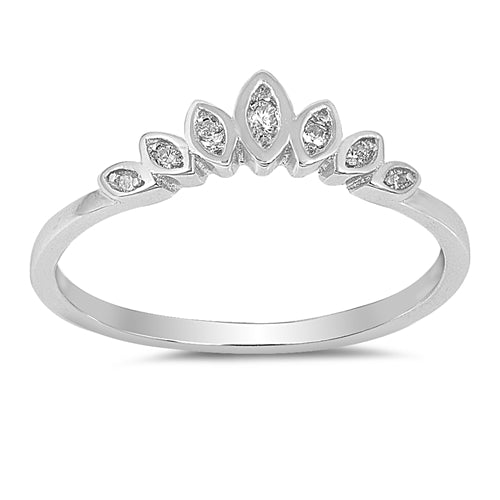 Fashion Crown Eternity Ring Round Simulated Cubic Zirconia 925 Sterling Silver