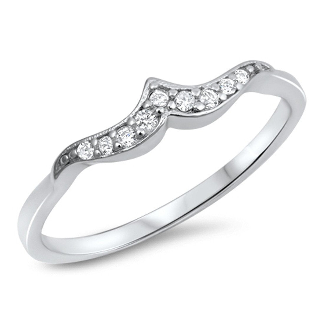 Fashion Summer Ocean Wave Ring Round Simulated Cubic Zirconia 925 Sterling  Silver Ocean Choose Color