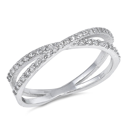 Infinity Crisscross Ring  Simulated Cubic Zirconia 925 Sterling Silver
