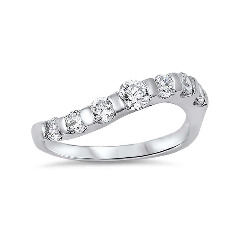 Half Eternity Curve Ring Band Round Simulated CZ 925 Sterling Silver