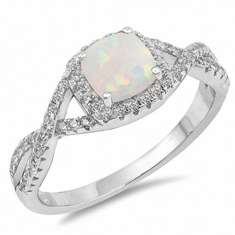 Halo Infinity Twist Shank Wedding Ring Created Opal 925 Sterling Silver Choose Color