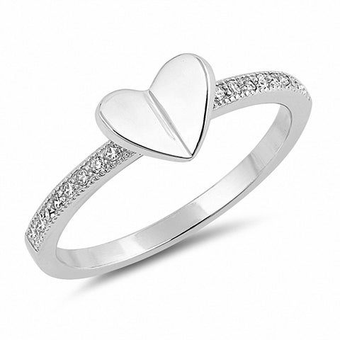 Folded Heart Ring Round Cubic Zirconia 925 Sterling Silver Choose Color