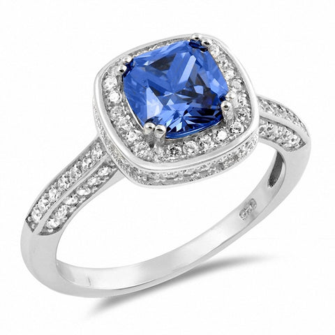 Halo Engagement Ring Cushion Simulated Tanzanite Round CZ 925 Sterling Silver Choose Color