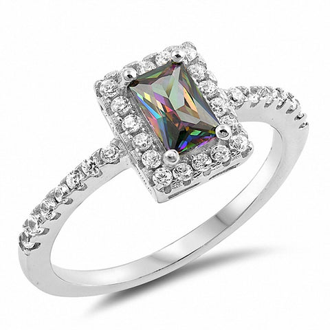 Halo Engagement Ring Radiant Rainbow Cubic Zirconia Round 925 Sterling Silver Choose Color