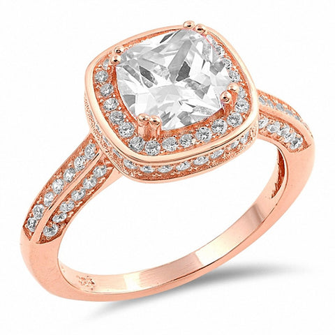 Halo Engagement Ring Cushion Round Cubic Zircnoia 925 Sterling Silver Choose Color