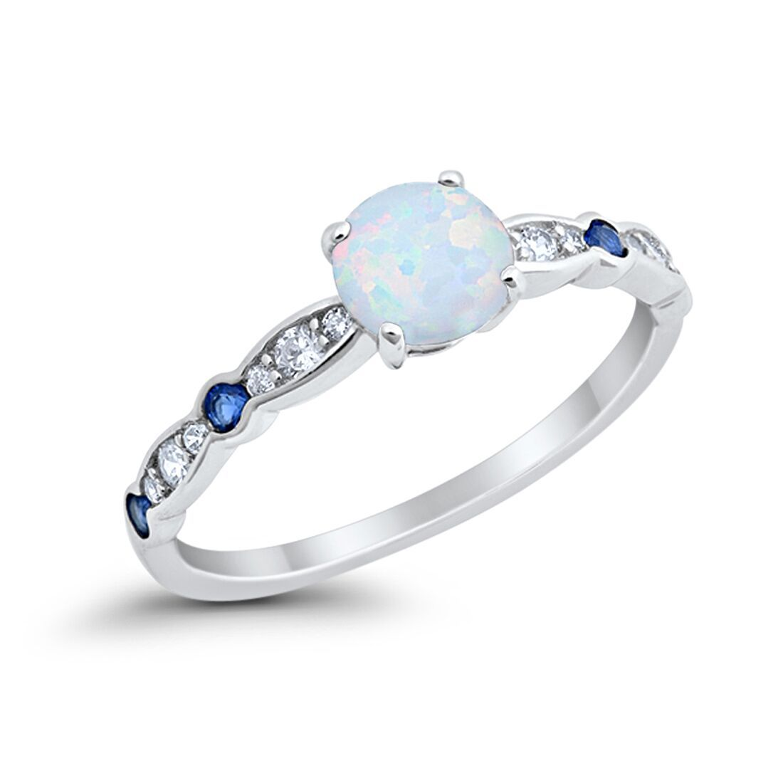 Fancy Engagement Ring Lab Created White Opal Round 925 Sterling Silver