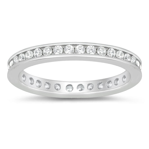 Eternity Style Band Ring Round Simulated Cubic Zirconia 925 Sterling Silver