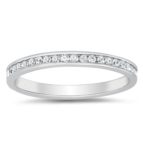 Eternity Style Round Simulated Cubic Zirconia 925 Sterling Silver Band Ring