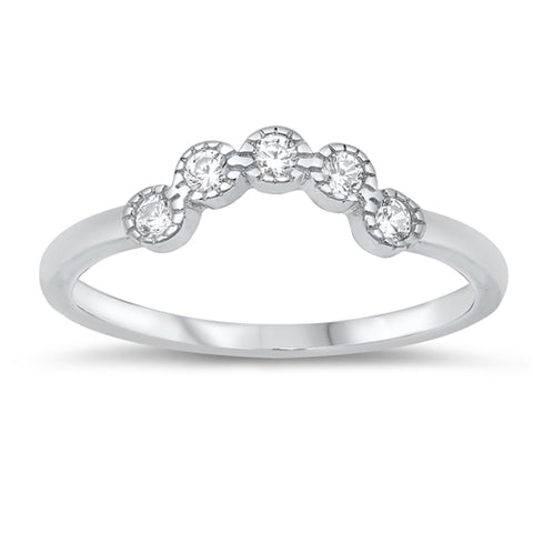 Matching Band Curved Ring Round Simulated Cubic Zirconia 925 Sterling Silver
