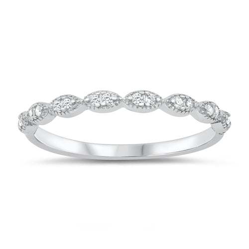 Art Deco Half Eternity Band Ring Simulated CZ 925 Sterling Silver