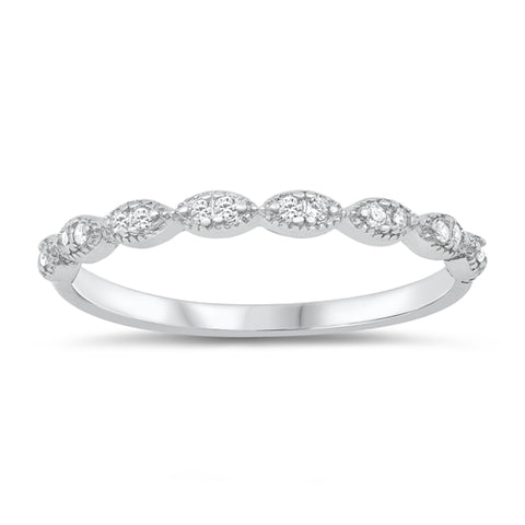 Art Deco Half Eternity Band Ring Round Simulated Cubic Zirconia 925 Sterling Silver