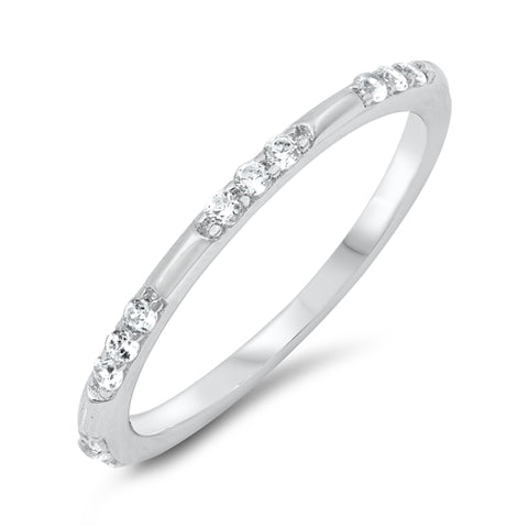 2mm Eternity Style Band Ring Round Simulated Cubic Zirconia 925 Sterling Silver