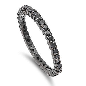 Silver Ring W/ Black CZ-$8.22