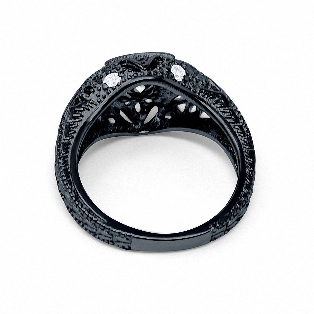 Antique Style Wedding Ring Round Black Tone, Simulated CZ 925 Sterling Silver