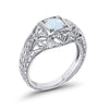Antique Style Wedding Engagement Ring Round Created White Opal CZ 925 Sterling Silver