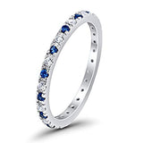 Half Eternity Wedding Band Design Simulated Blue Sapphire CZ 925 Sterling Silver