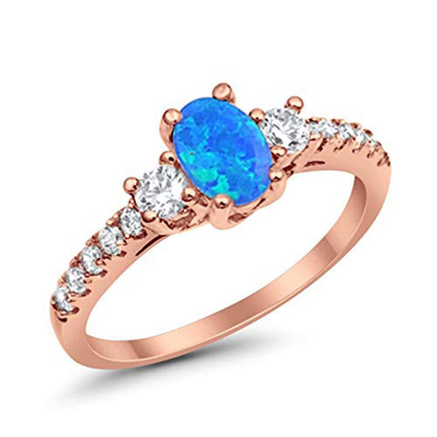Oval Lab Created Blue Opal Rose Tone Ring Round Clear CZ 925 Sterling Silver