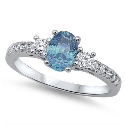 3 Stone Wedding Engagement Ring Oval Simulated Aquamarine & Round CZ 925 Sterling Silver