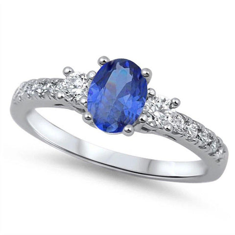 3 Stone Wedding Engagement Ring Oval Simulated Blue Sapphire & Round CZ 925 Sterling Silver