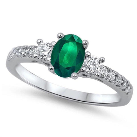 3 Stone Wedding Engagement Ring Oval Simulated Green Emerald & Round CZ 925 Sterling Silver