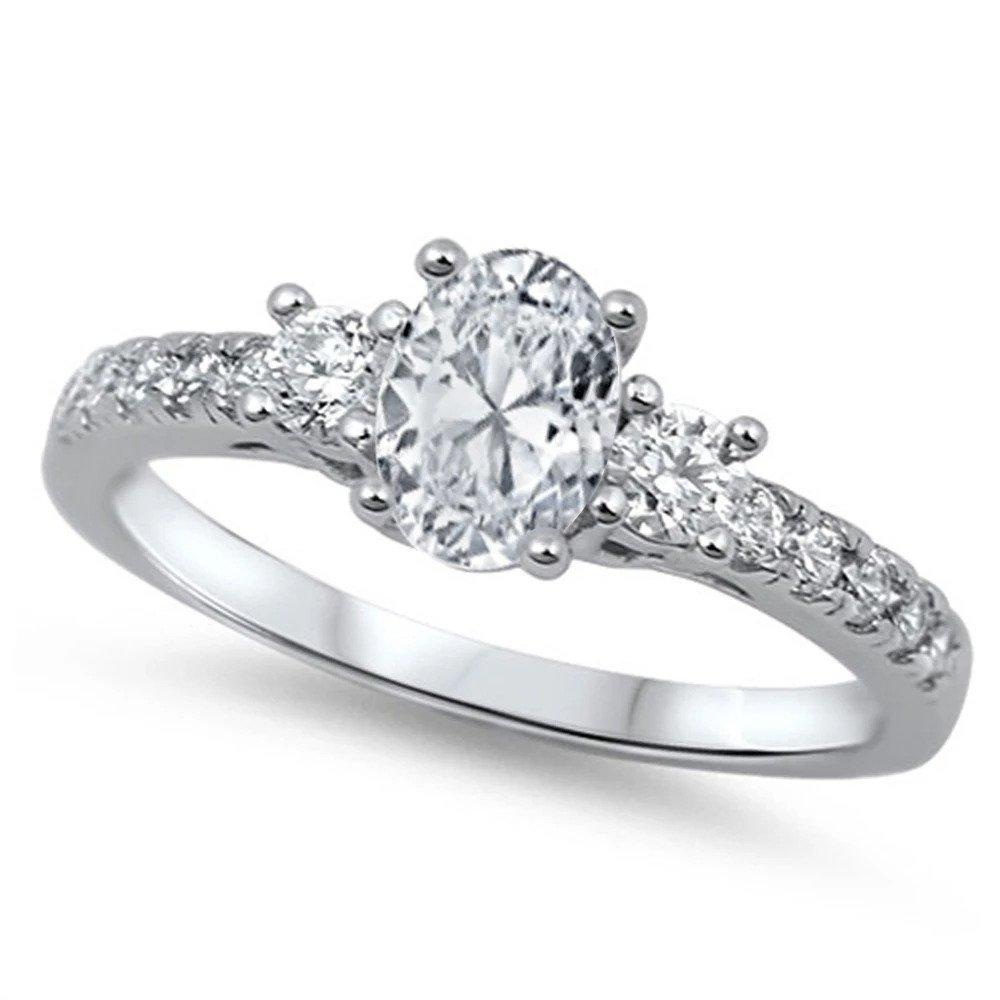 3 Stone Engagement Ring Oval Simulated CZ 925 Sterling Silver