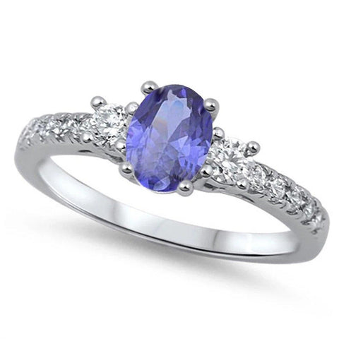 3 Stone Wedding Engagement Ring Oval Simulated Tanzanite & Round CZ 925 Sterling Silver