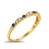Half Eternity Wedding Band Round Yellow Tone, Simulated Blue Sapphire CZ 925 Sterling Silver