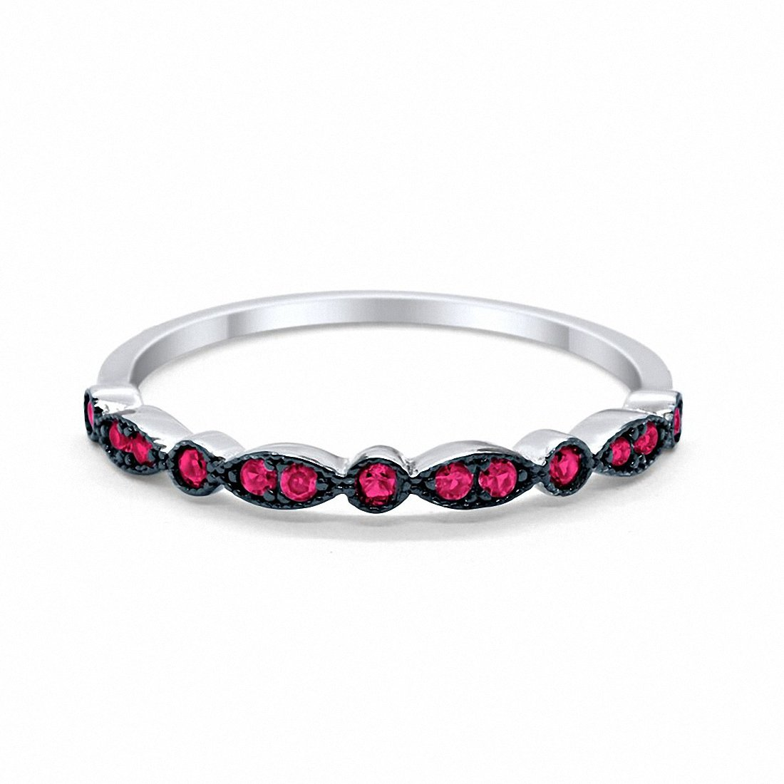 Half Eternity Wedding Band Round Simulated Ruby CZ 925 Sterling Silver