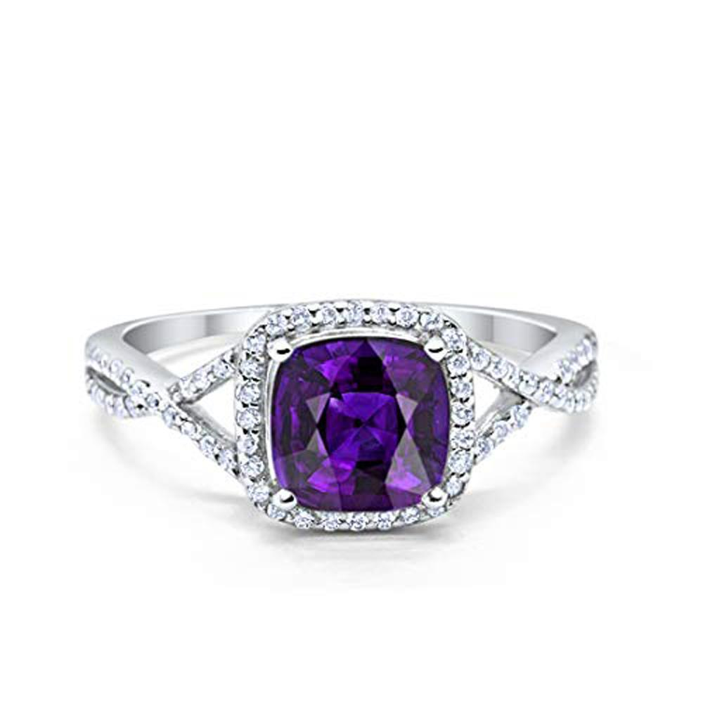 Halo Infinity Shank Engagement Ring Simulated Amethyst CZ 925 Sterling Silver