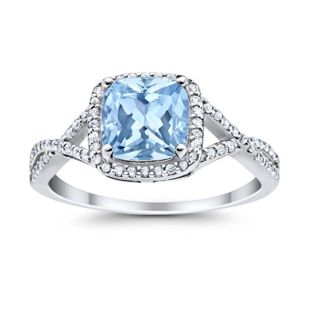 Halo Infinity Shank Engagement Ring Cushion Round Simulated Aquamarine CZ 925 Sterling Silver
