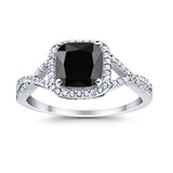 Halo Infinity Shank Engagement Ring Cushion Round Simulated Black CZ 925 Sterling Silver