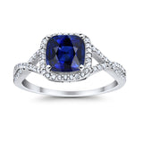 Halo Infinity Shank Engagement Ring Cushion Round Simulated Blue Sapphire CZ 925 Sterling Silver