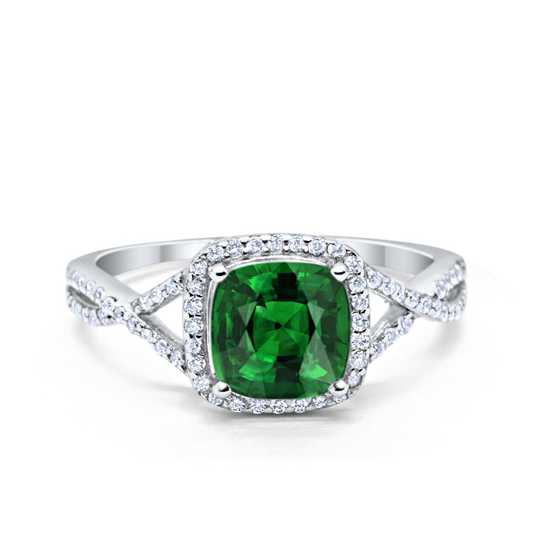Halo Infinity Shank Engagement Ring Cushion Round Simulated Green Emerald CZ 925 Sterling Silver