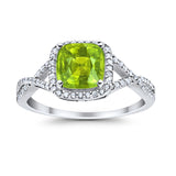 Halo Infinity Shank Engagement Ring Cushion Round Simulated Peridot CZ 925 Sterling Silver