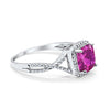 Halo Infinity Shank Engagement Ring Cushion Round Simulated Pink CZ 925 Sterling Silver