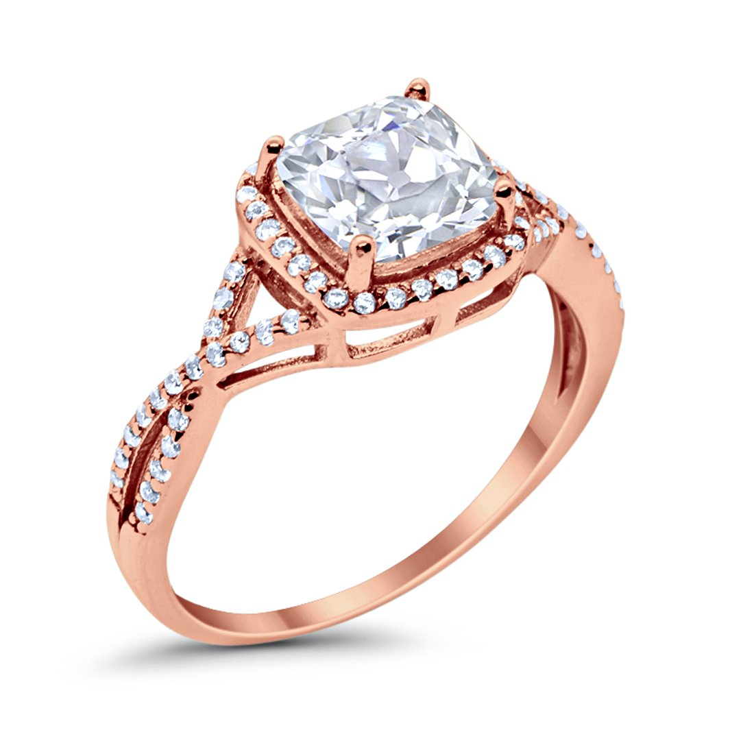 Halo Infinity Shank Engagement Ring Cushion Rose Tone, Simulated CZ 925 Sterling Silver