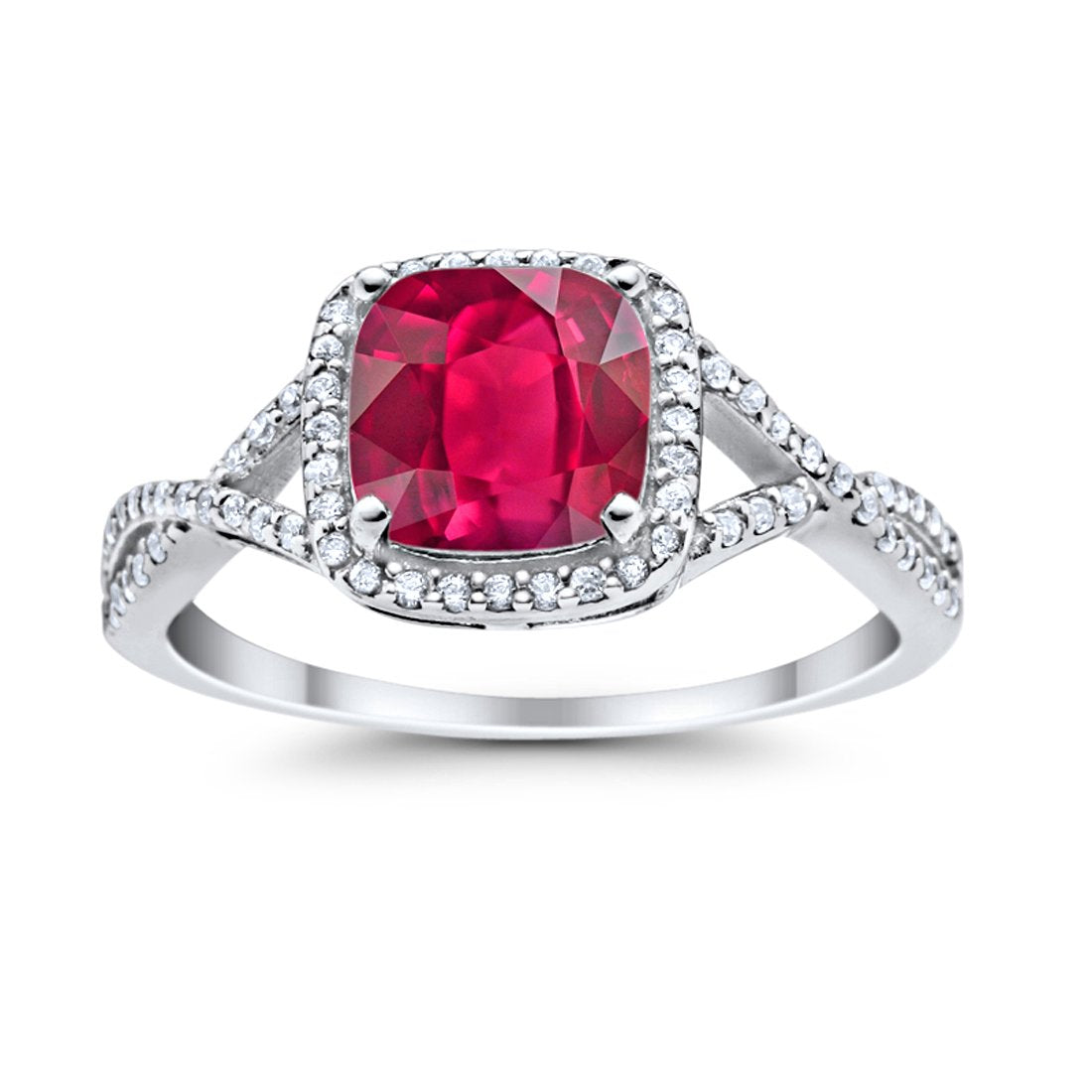 Halo Infinity Shank Engagement Ring Cushion Round Simulated Ruby CZ 925 Sterling Silver