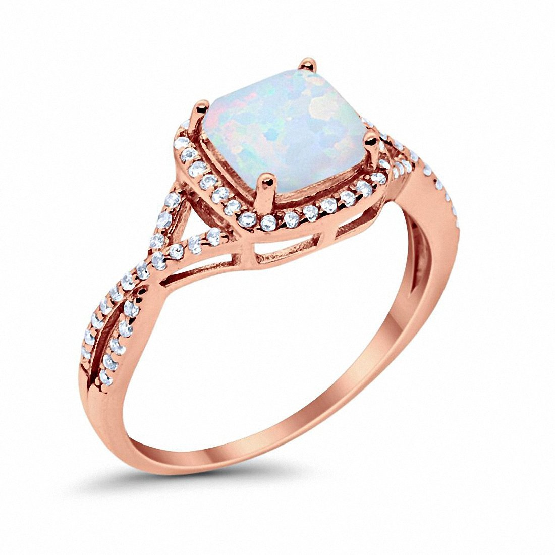 Halo Engagement Ring Rose Tone, Lab Created White Opal 925 Sterling Silver