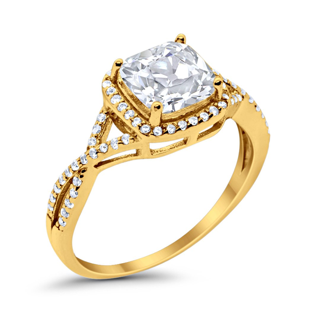 Halo Infinity Shank Engagement Ring Cushion Round Yellow Tone, Simulated CZ 925 Sterling Silver