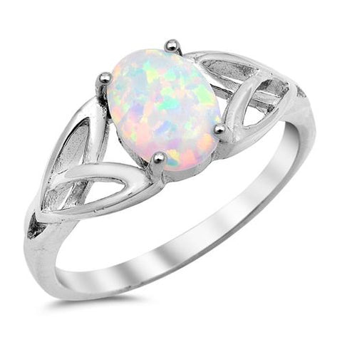 Solitaire Celtic Ring Oval Created Lab White Opal 925 Sterling Silver
