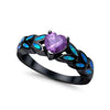 Heart Ring Simulated Amethyst Lab Blue Opal Black Tone 925 Sterling Silver