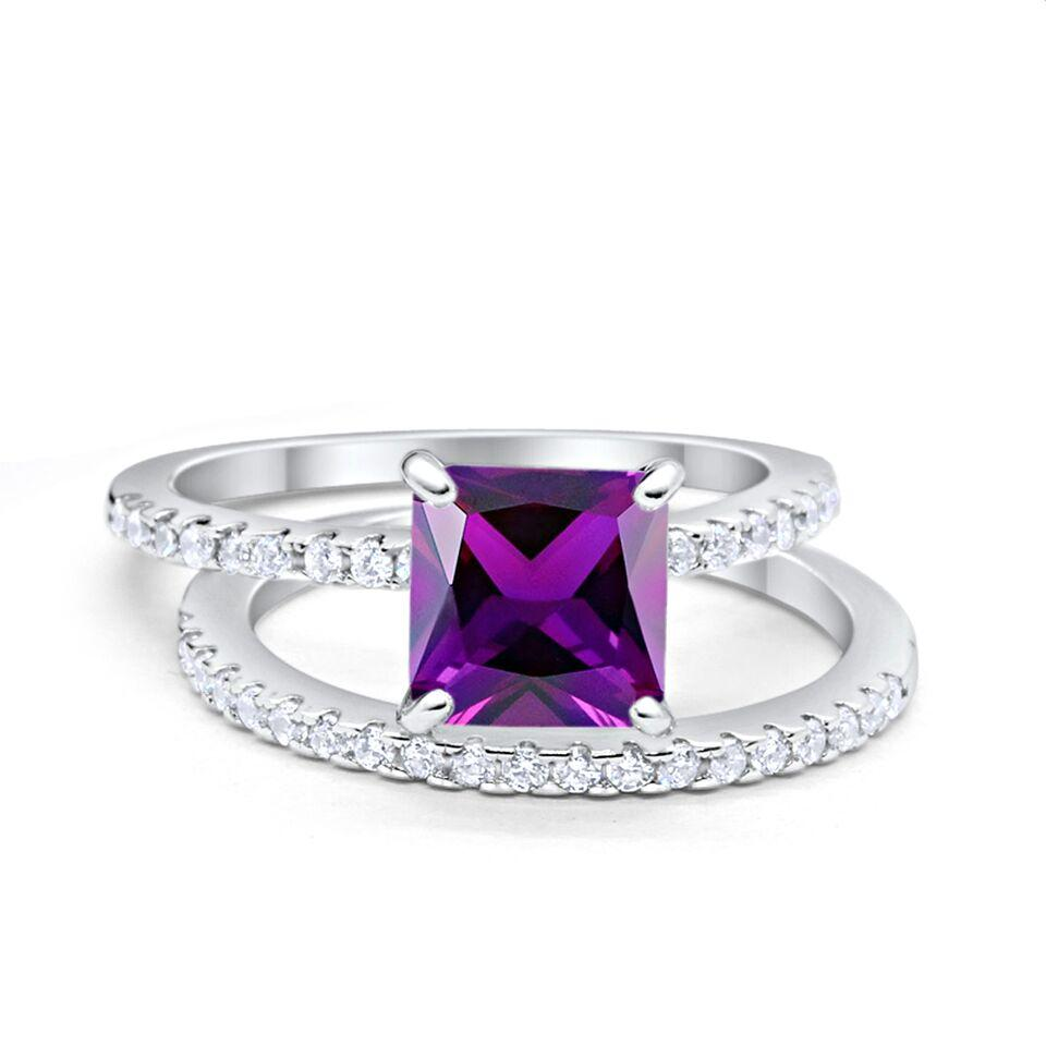 Two Piece Engagement Ring Asscher Cut Simulated Amethyst CZ 925 Sterling Silver