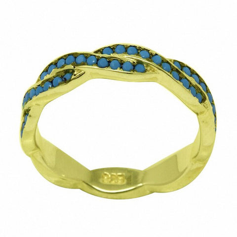 Full Eternity Braided Infinity Twisted Band Ring Yellow, Simulated Turquoise CZ 925 Sterling Silver